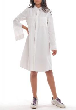 فستان أبيض نمط قميص بأكمام مفتوحة