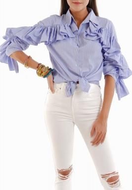 قميص أزرق برفرفات