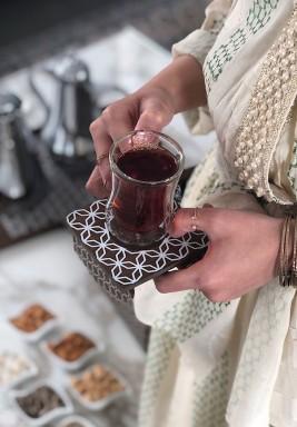 طقم شاي وقهوة - بني