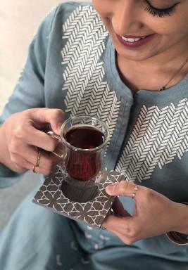 طقم شاي وقهوة - رمادي