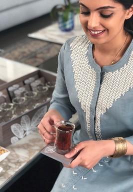 طقم شاي وقهوة - ورق الشجر