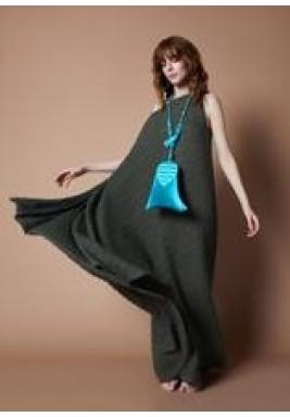 فستان فستقي مطوي بتصميم غير متماثل