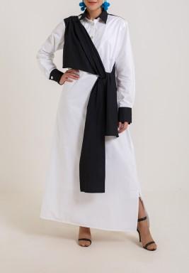 فستان أسود وأبيض بربطة أمامية