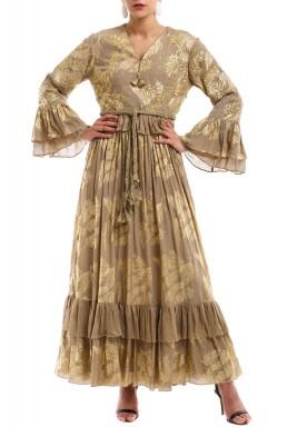 فستان نقاشة مطبوع ذهبي
