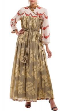 فستان نقاشة النخيل رمادي