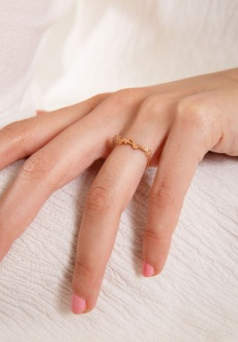 """خاتم """"سر حبي"""" من الذهب الزهري"""