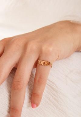 """خاتم من الذهب الزهري بكتابة """" My"""