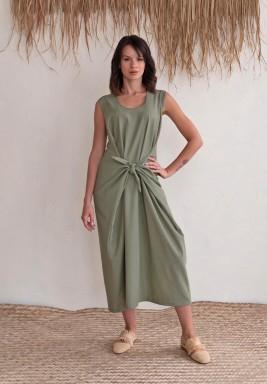 فستان أخضر برباط أمامي