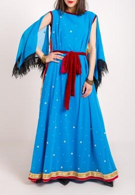 فستان تركواز مطرز بظهر مفتوح