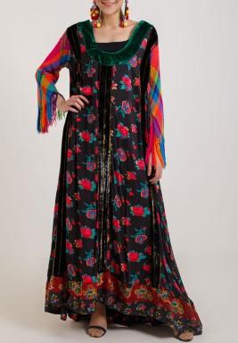 فستان متعدد الألوان بطبعات ورود