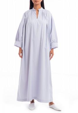 فستان رمادي ماكسي بطويات