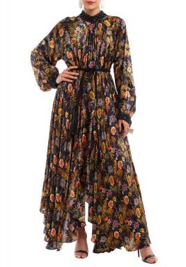 فستان نقاشة ماكسي متباين الطول