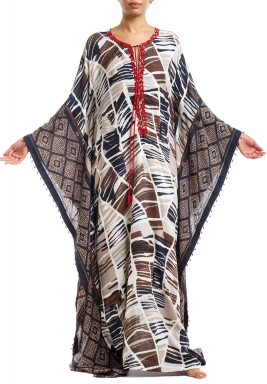 Multicolored Printed Tasseled Kaftan