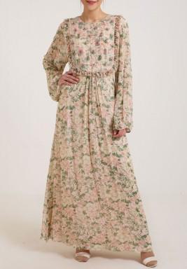 فستان وردي بطبعات ورود وخرز