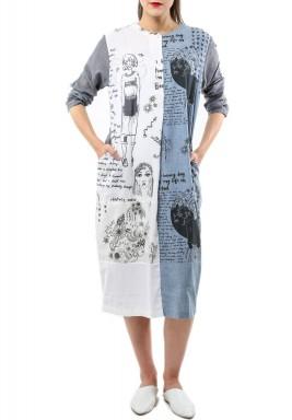 فستان دودل إيج أبيض وأزرق بطبعات