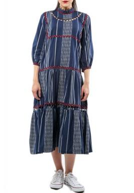 فستان جودي كحلي مخطط بأكمام منفوشة