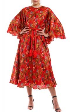 فستان نقاشة أحمر حريري مطبوع