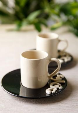 طقم قهوة ايسبريسو من فنجانين - سمني