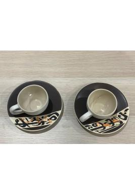 طقم فناجين قهوة أسود تركي من 6 قطع