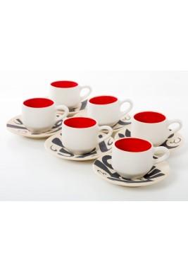 فنجان وصحن قهوة تركي اسطنبولي - طقم من 6 قطع - أحمر