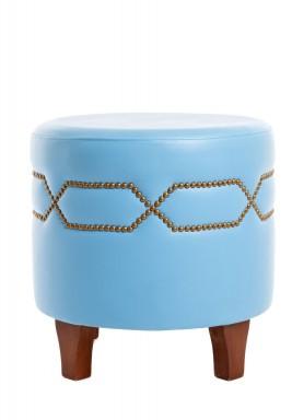 مقعد أزرق فاتح دائري بدبابيس ذهبية