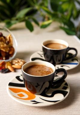 طقم قهوة تركي بيج من فنجانين