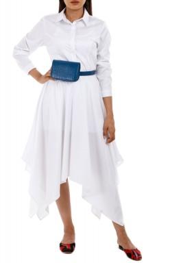 فستان زيورينا الأبيض نمط قميص مزرر