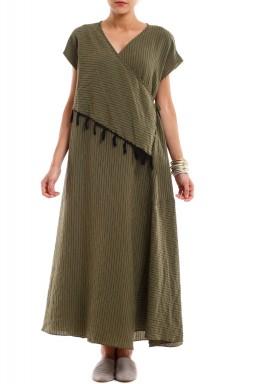 فستان ملتف زيتوني