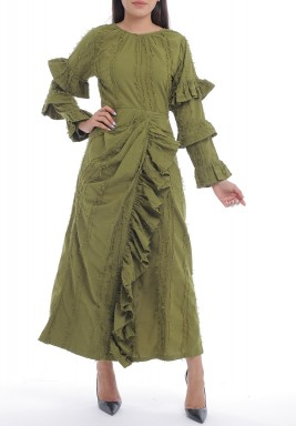 فستان أخضر مشرشب برفرفات