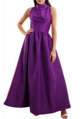 فستان بنفسجي وبرتقالي بياقة عالية
