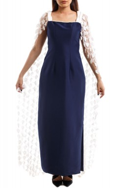 فستان كحلي وأبيض مطرز نمط رداء