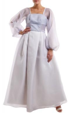 فستان رمادي فاتح منفوش