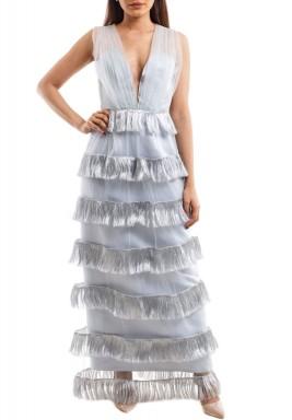 فستان فضي تول بشراشيب