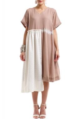 فستان كتان زهري مطفي