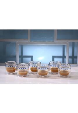 طقم قهوة الاسبريسو المزدان بالنقط من 6 أكواب