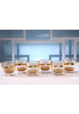طقم قهوة الاسبريسو الذهبي من 6 أكواب
