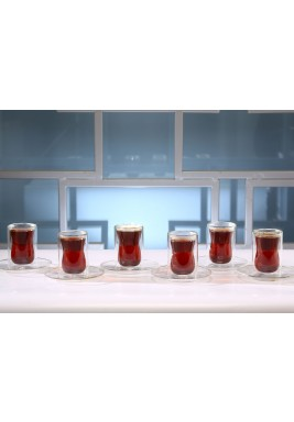 طقم الإستكانة الزجاجية من 6 إستكانات وصحون