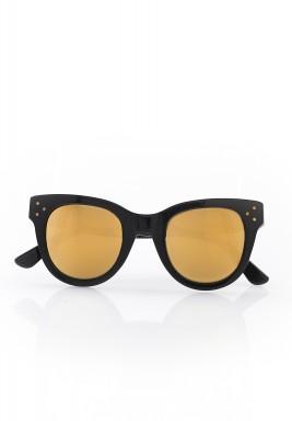 نظارة شمسية بعدسات زجاجية ذهبية