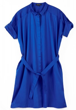 فستان أزرق قصير بأزرار أمامية