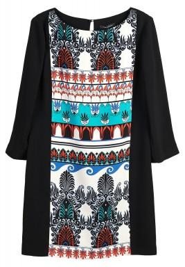 فستان بوهيمي أسود مطبوع