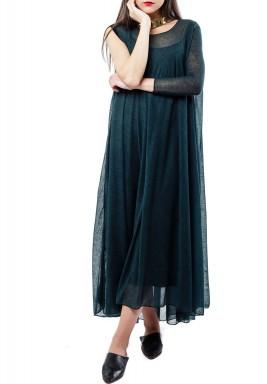 فستان لون اخضر زيتوني بكتف واحد