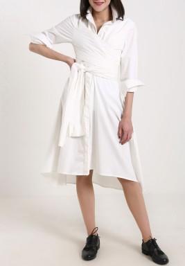 فستان أبيض نمط لف متوسط الطول