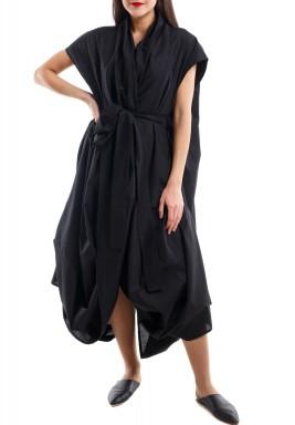 فستان قميص ملتف – أسود