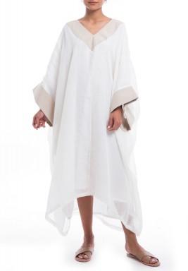 فستان أبيض وبيج فضفاض باكمام طويلة