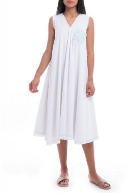 White Embroidered Midi Dress