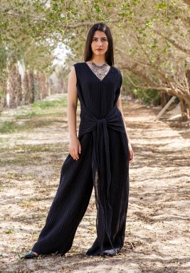 Black Tie-Up Jumpsuit Bisht