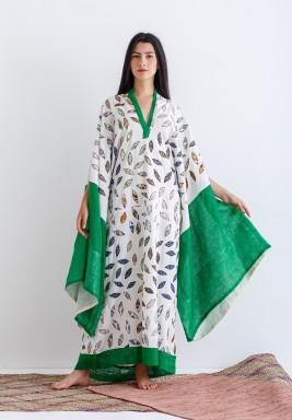 Green Wide Sleeves Kaftan