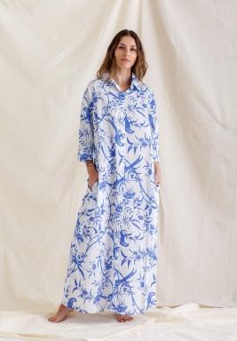 Printed Shirt Dress / Blue Bird