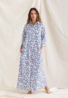 Printed Shirt Dress / Bleu Blanc