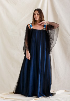 Al-maha jeans with toor black Kaftan